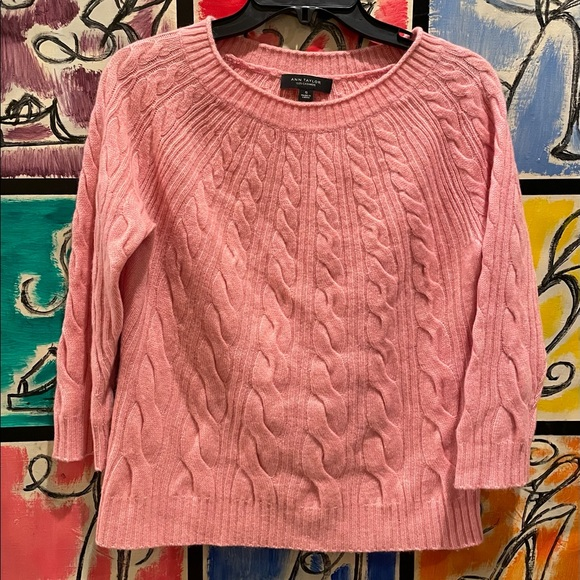 Ann Taylor Pink Cable Knit 100% Cashmere Sweater